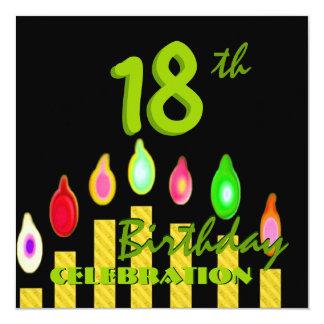 18ème L'or vert de fête d'anniversaire mire W1188 Carton D'invitation 13,33 Cm