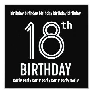 18ème Modèle de blanc de noir d'invitation de fête Carton D'invitation 13,33 Cm