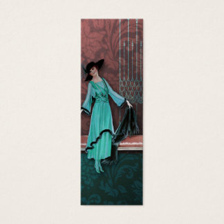 1913 Luxe : La mode vintage en Aqua et s'est levée Mini Carte De Visite