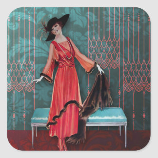 1913 Luxe : Mode vintage en rouge et turquoise Sticker Carré