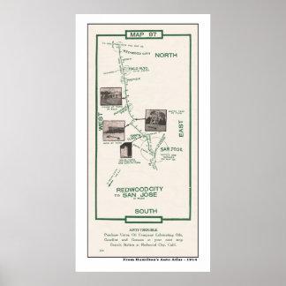 1914 carte, Palo Alto à l'affiche de San Jose Posters