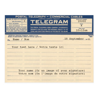 1920 Postal Telegram (Postcard) Carte Postale
