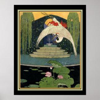 1921 scène 16 x 20 de jardin d'art déco