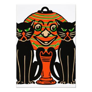 1940 chats noirs vintages de Halloween Carton D'invitation 12,7 Cm X 17,78 Cm