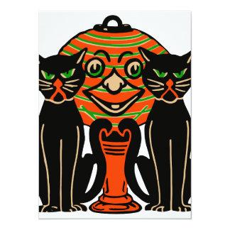 1940 chats noirs vintages de Halloween Carton D'invitation 13,97 Cm X 19,05 Cm