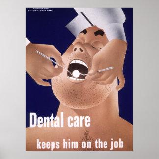 1942 affiches dentaires de santé de marine vintage