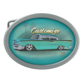 1957 torquois chevy de personnaliser de boucle de  boucles de ceinture ovales