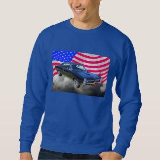 1967 Pontiac GTO et drapeau américain Sweatshirt