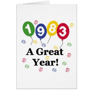 1983 un anniversaire de grande année carte de vœux