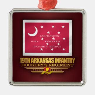 19ème Infanterie de l'Arkansas (F10) Ornement Carré Argenté