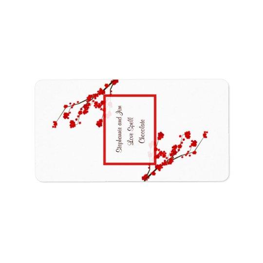 """1,25 fleurs de cerisier rouges miniatures de """" étiquette d'adresse"""