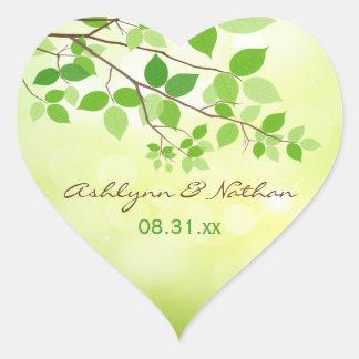 """1,5"""" branches feuillues épousant l'autocollant sticker cœur"""
