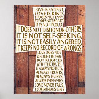 1 bois rustique de croix de chapitre d'amour des poster