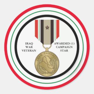 1 COMBATTANT D'IRAK D'ÉTOILE DE CAMPAGNE STICKER ROND