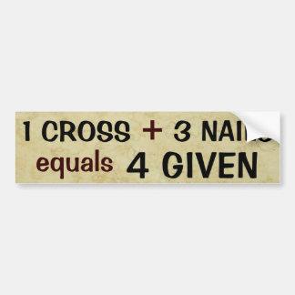1 croix plus 3 égaux de clous indulgents autocollant de voiture