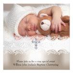 1 garçon croisé beige blanc de bébé de baptême de