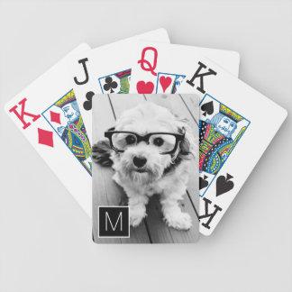 1 monogramme noir et blanc de coutume de collage jeux de cartes