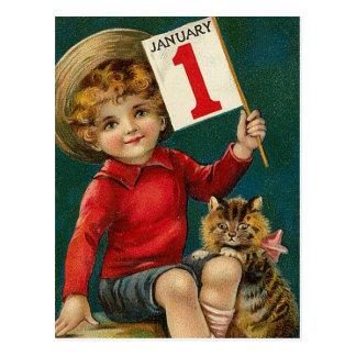 1er janvier vintage carte postale
