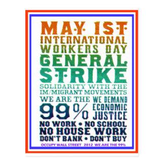 1er mai le jour international de travailleurs carte postale