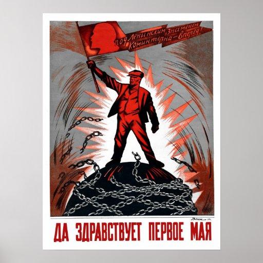 1er mai russe vintage Lénine socialiste connexe Posters