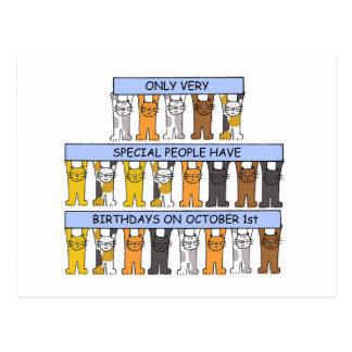 1er octobre chats d'anniversaire carte postale