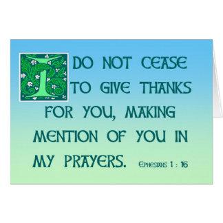 1h16 d'Ephesians de carte de remerciements