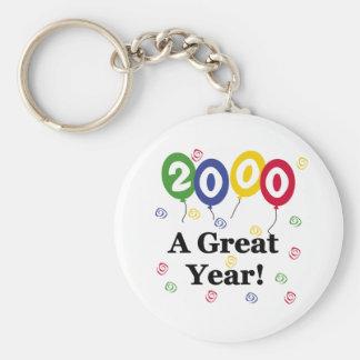 2000 un anniversaire de grande année porte-clé rond