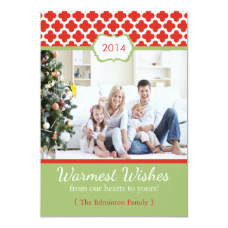 2014 Red Green Quatrefoil Christmas Flat Card Custom Invitations