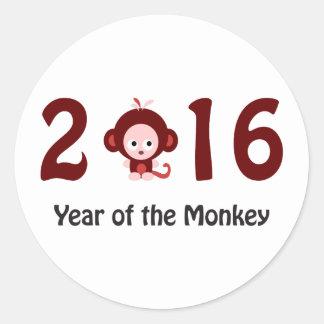 2016 ans mignon du singe sticker rond