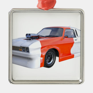 2016 voiture orange et blanche de muscle ornement carré argenté