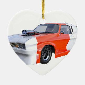 2016 voiture orange et blanche de muscle ornement cœur en céramique