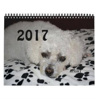 2017 pattes blanches de noir de chien de calendrier