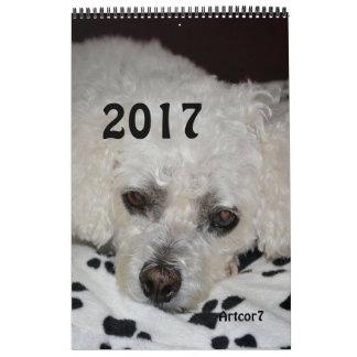 2017 pattes blanches de noir de chien de calendriers muraux