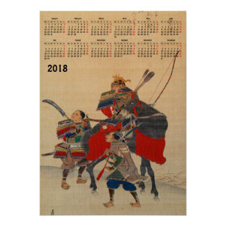 2018 samouraïs de Japonais de calendrier Poster