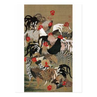 20. 群鶏図, troupeau de 若冲 des coqs, Jakuchu Carte Postale