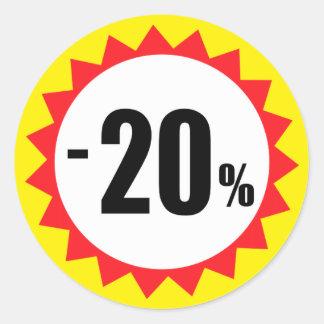 20 pour cent de vente de remise de jaune blanc sticker rond