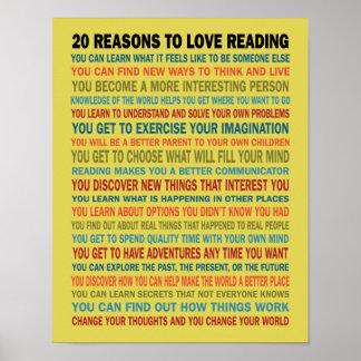 20 raisons d'aimer des livres de lecture poster