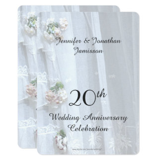 20ème Fête d'anniversaire de mariage, dentelle Carton D'invitation 12,7 Cm X 17,78 Cm