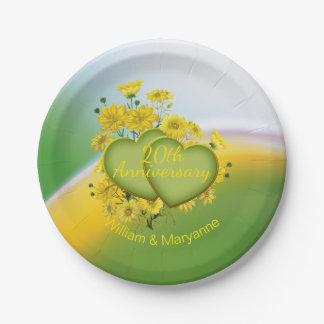20ème Jardin de jaune de soleil d'anniversaire de Assiettes En Papier