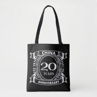 20ème porcelaine d'anniversaire de mariage tote bag