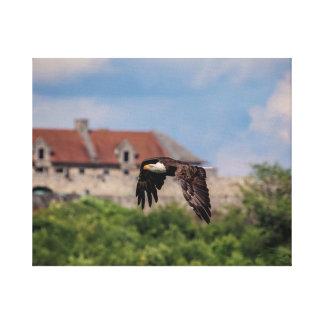 20x16 Eagle chauve passant le fort Ticonderoga Toile