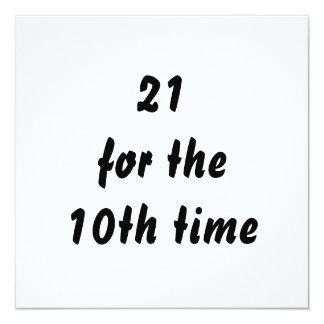 21 pendant la 10ème fois. 30ème Anniversaire. Carton D'invitation 13,33 Cm