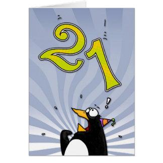 21ème anniversaire - carte de surprise de pingouin