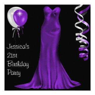 21ème anniversaire pourpre blanc noir de robe form invitations