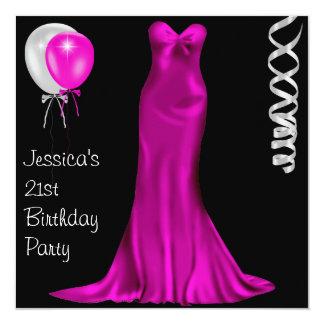 21ème anniversaire rose blanc noir de robe carton d'invitation  13,33 cm