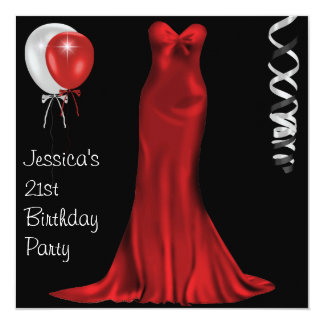21ème anniversaire rouge blanc noir de robe invitation personnalisable
