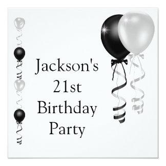 21ème Ballons blancs argentés noirs d'anniversaire Carton D'invitation 13,33 Cm