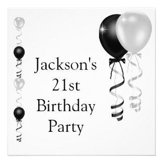 21ème Ballons blancs argentés noirs d'anniversaire Cartons D'invitation