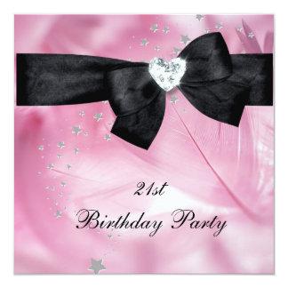 21ème Blanc de noir de rose de fête d'anniversaire Carton D'invitation 13,33 Cm