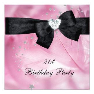 21ème Blanc de noir de rose de fête d'anniversaire Invitations